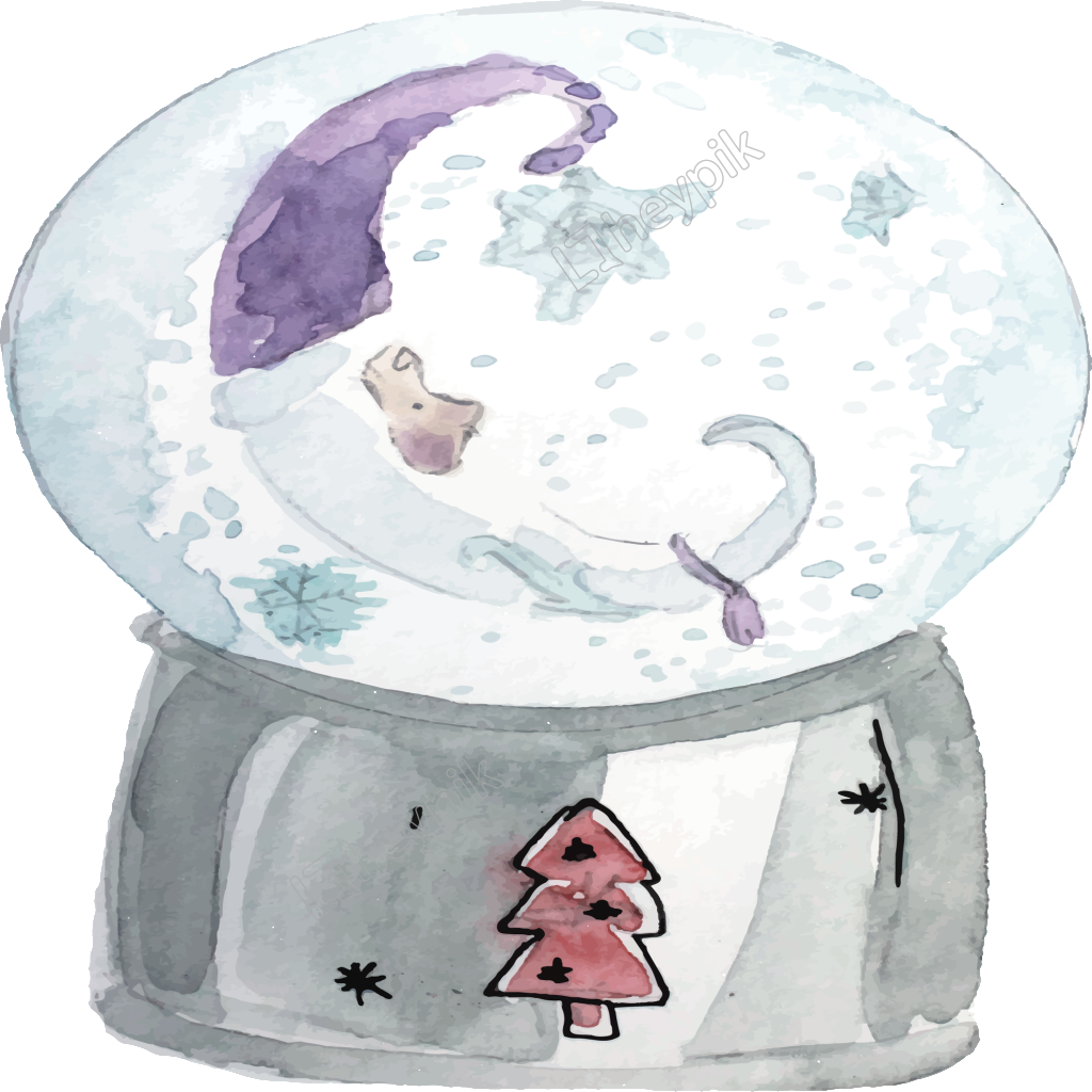 Snowglobe drawing glass globe. Hand drawn cartoon snow