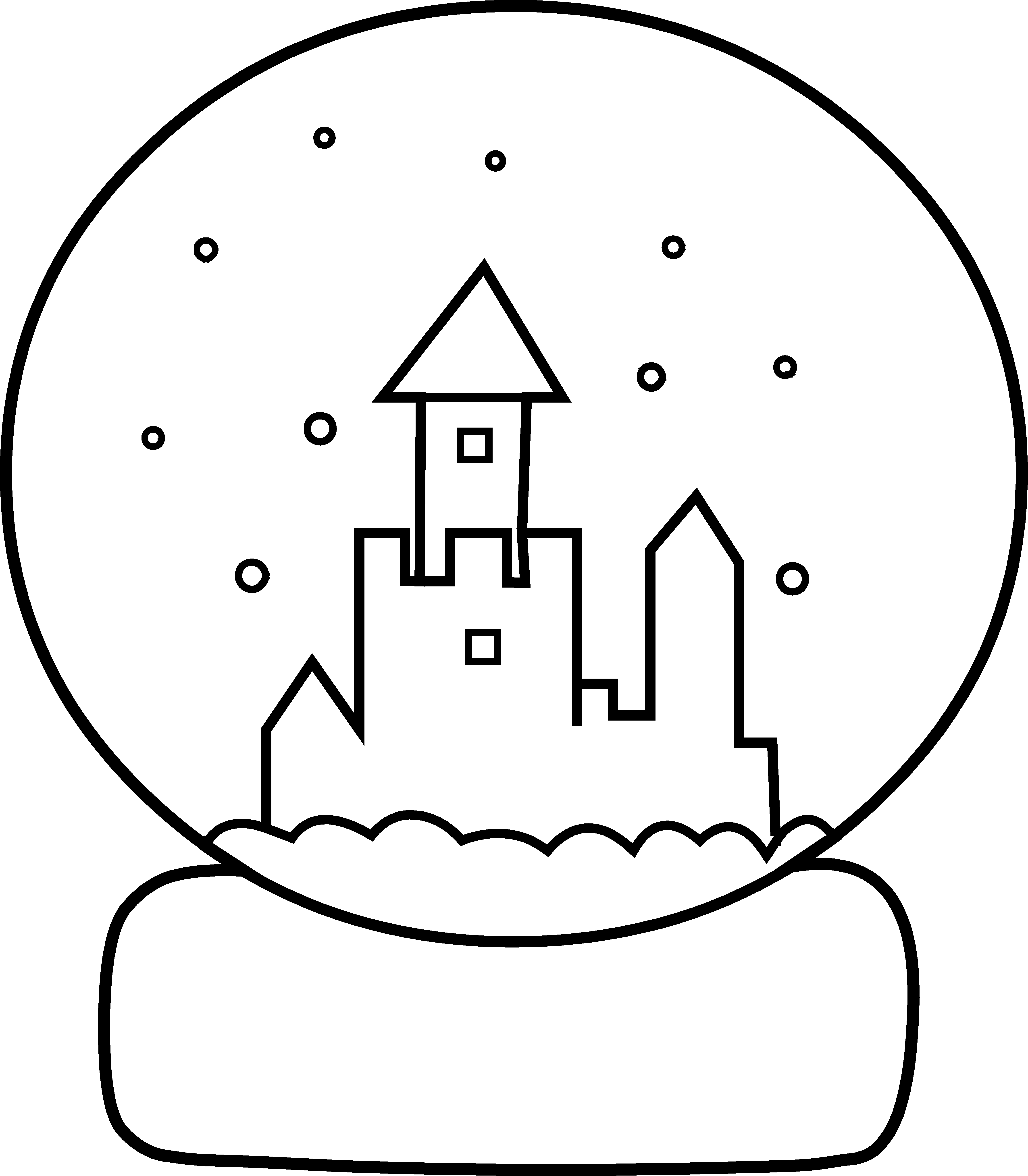 Snowglobe drawing cute. Snow globe coloring page