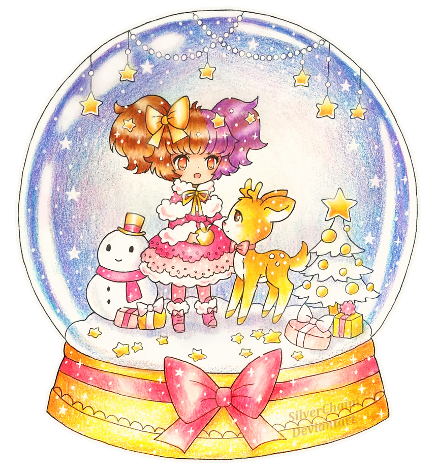 Snowglobe drawing color. C snow globe by