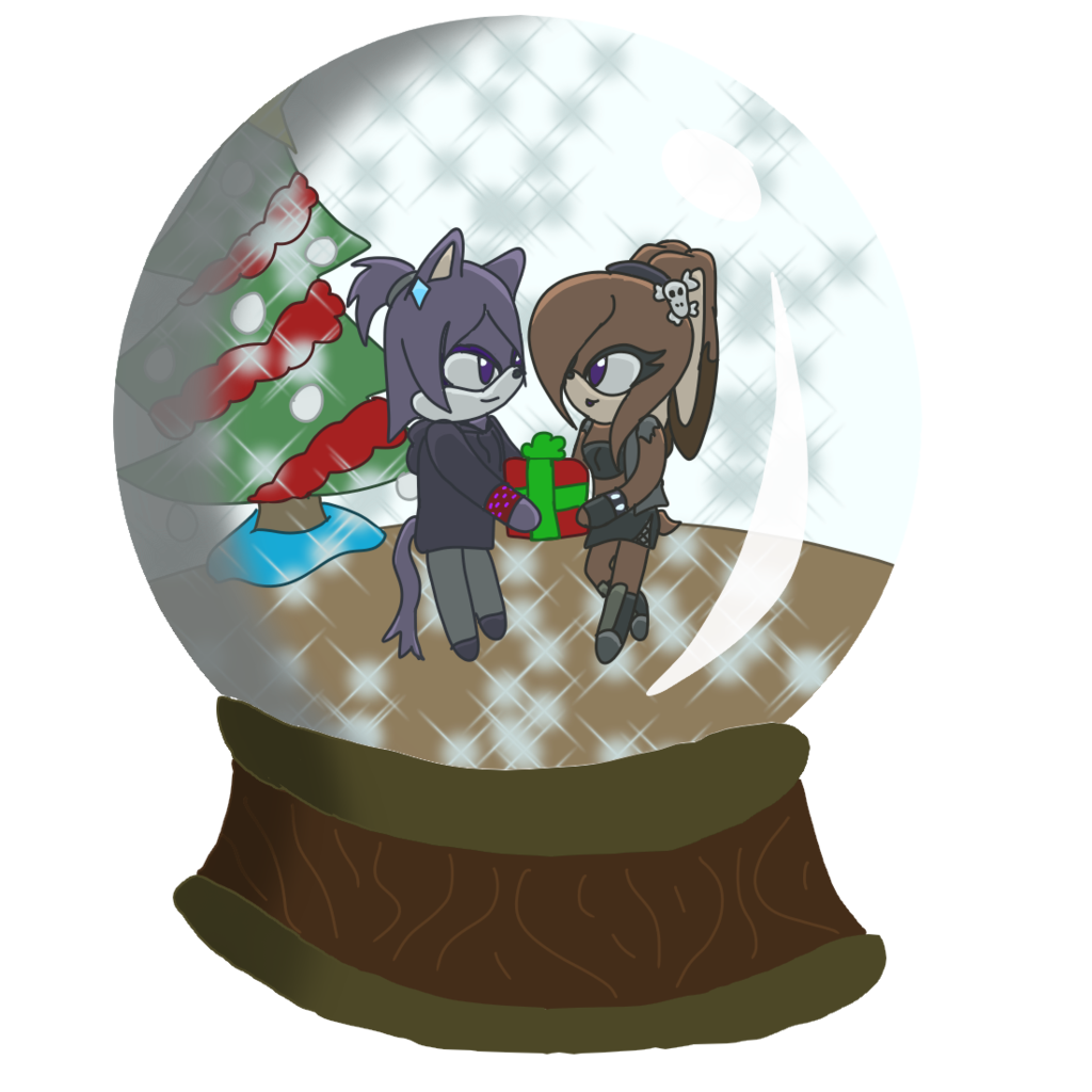 Snowglobe drawing dark. Marianna and noire snow