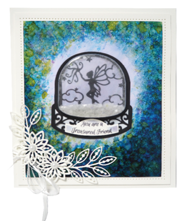 Snowglobe drawing scene. Fillables collection fairy snow