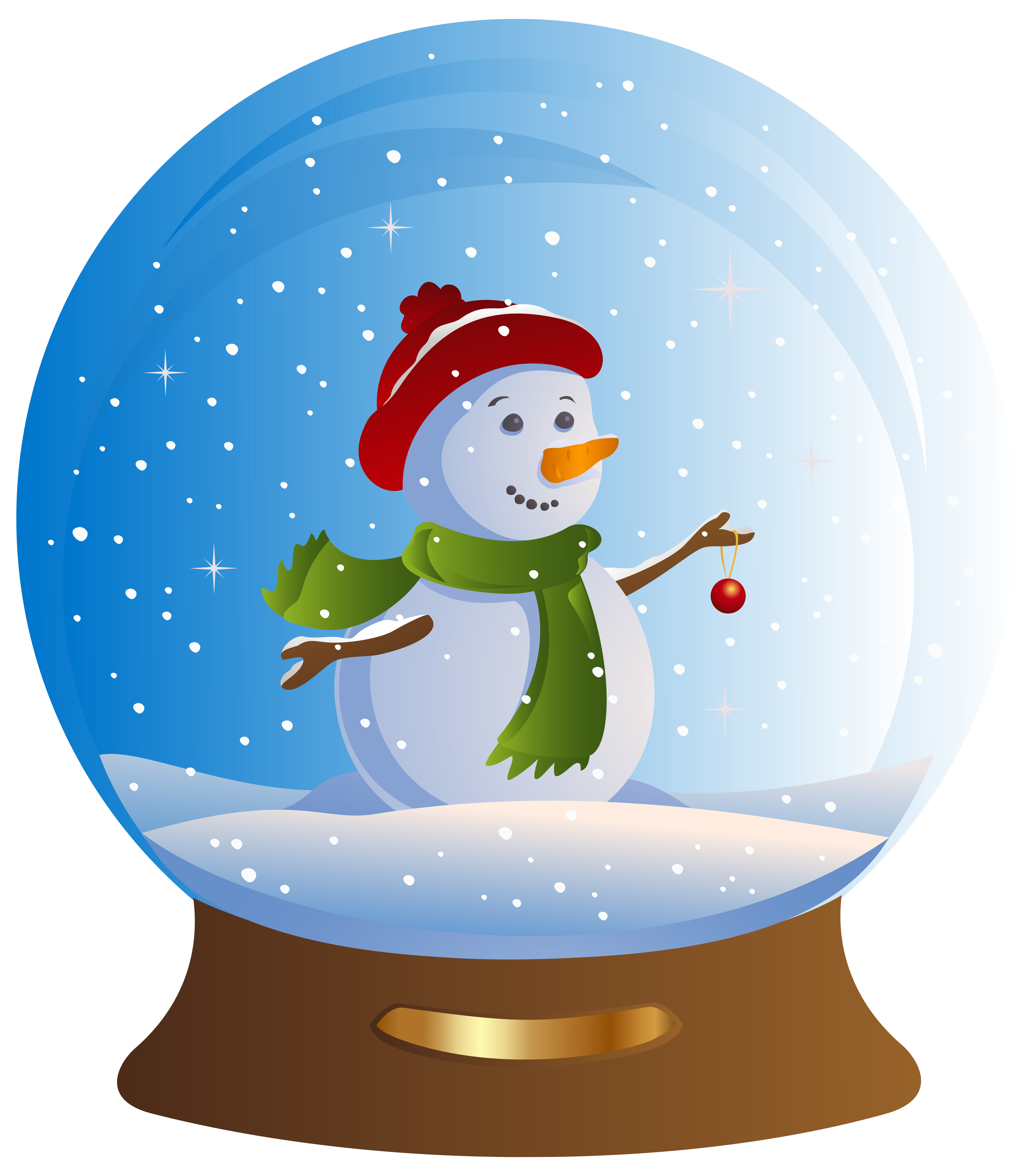 Snowglobe drawing snowman. Collection of snow