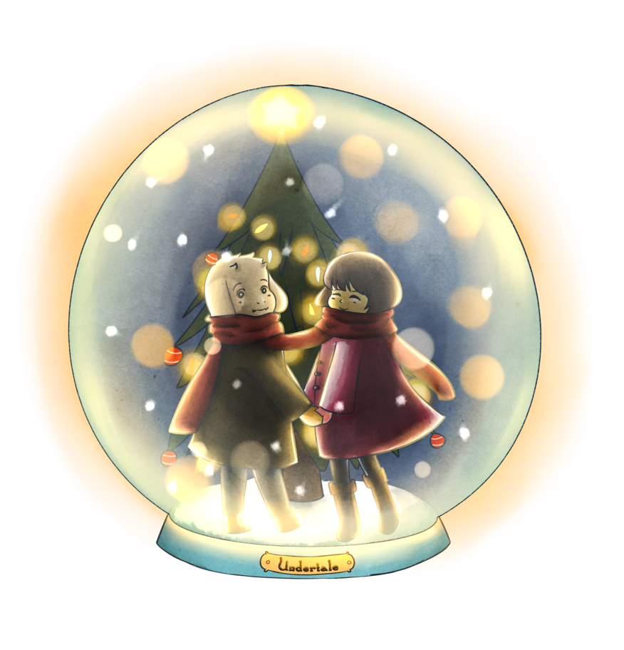 Snowglobe drawing themed. Frisk and asriel snow