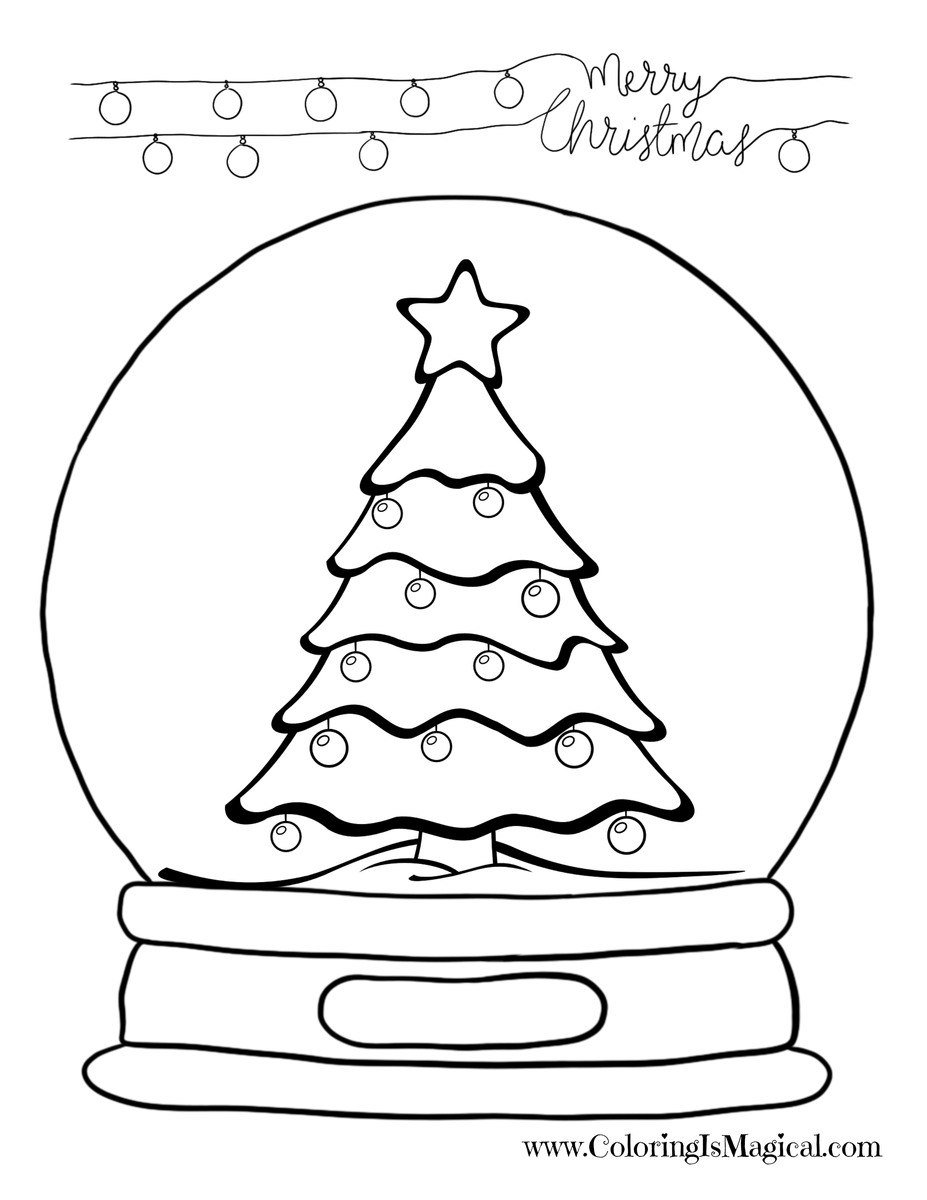 Snowglobe drawing eve. Free christmas coloring page