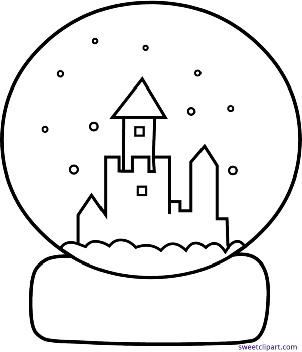 Snowglobe drawing line. Snow globe art clipart