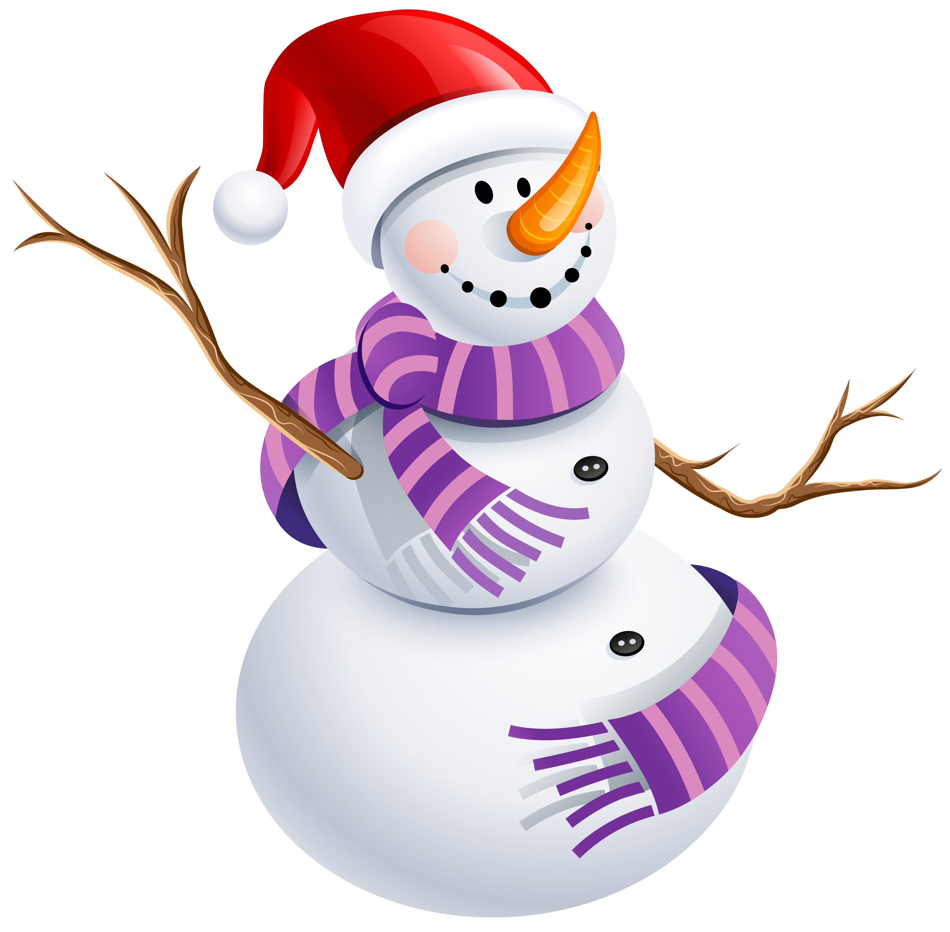 Snowman with purple scarf. Snow man png png black and white stock
