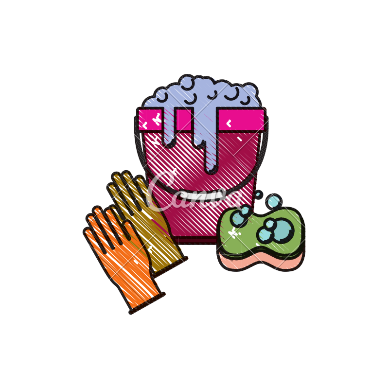 Sponges drawing bucket. Gloves and with water