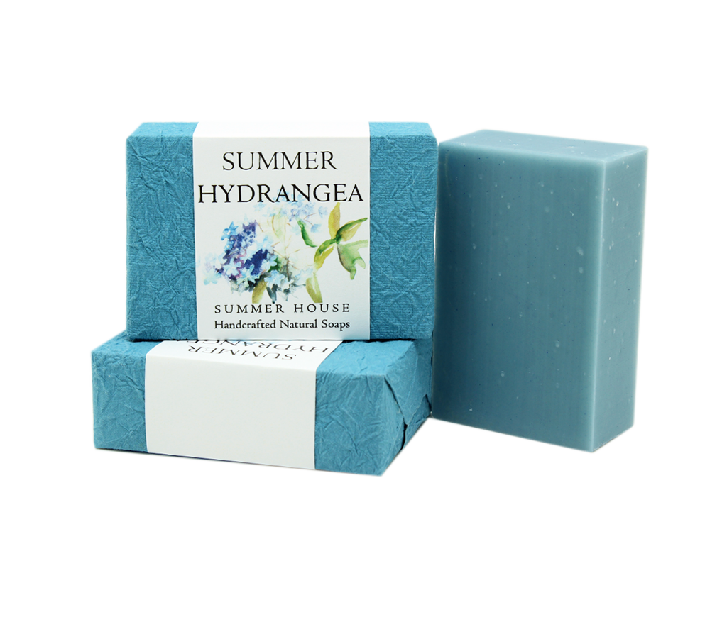 Transparent soaps blue. Summer hydrangea bar soap