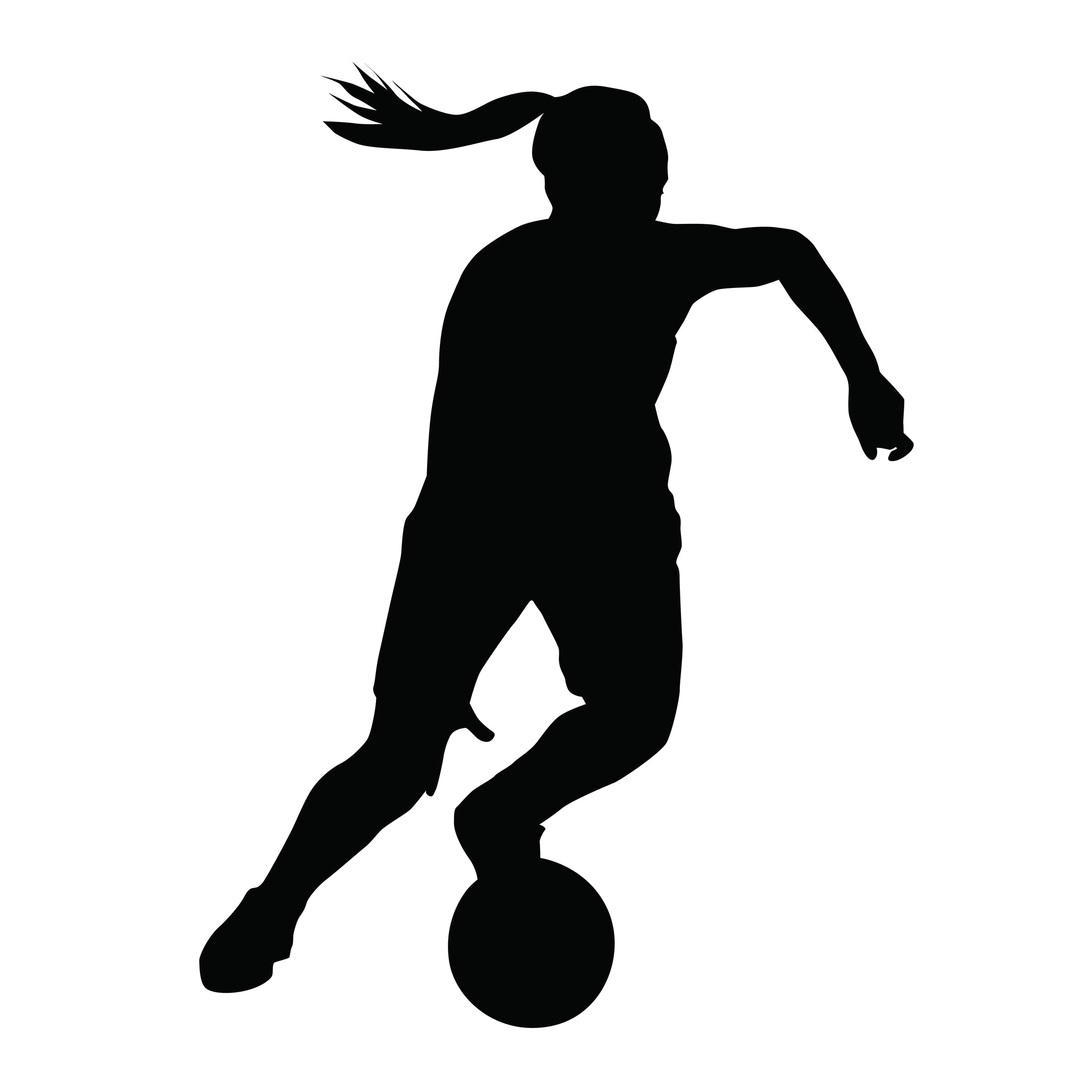 Top drawing football. Girls soccer silhouette at