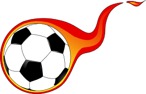 Soccerball drawing fire. Flaming soccer ball clip