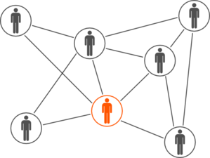 Social clipart. Grey and orange men