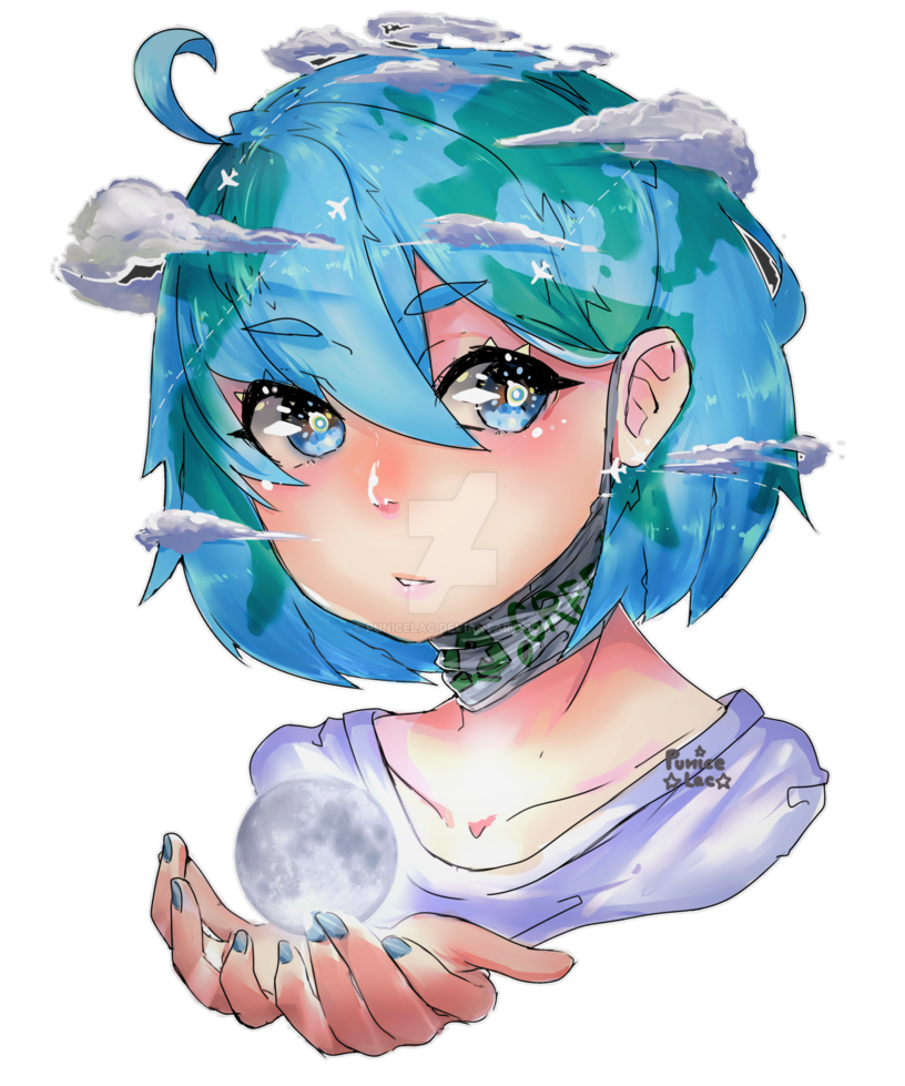 Social drawing anime character. Earth chan by punicelac