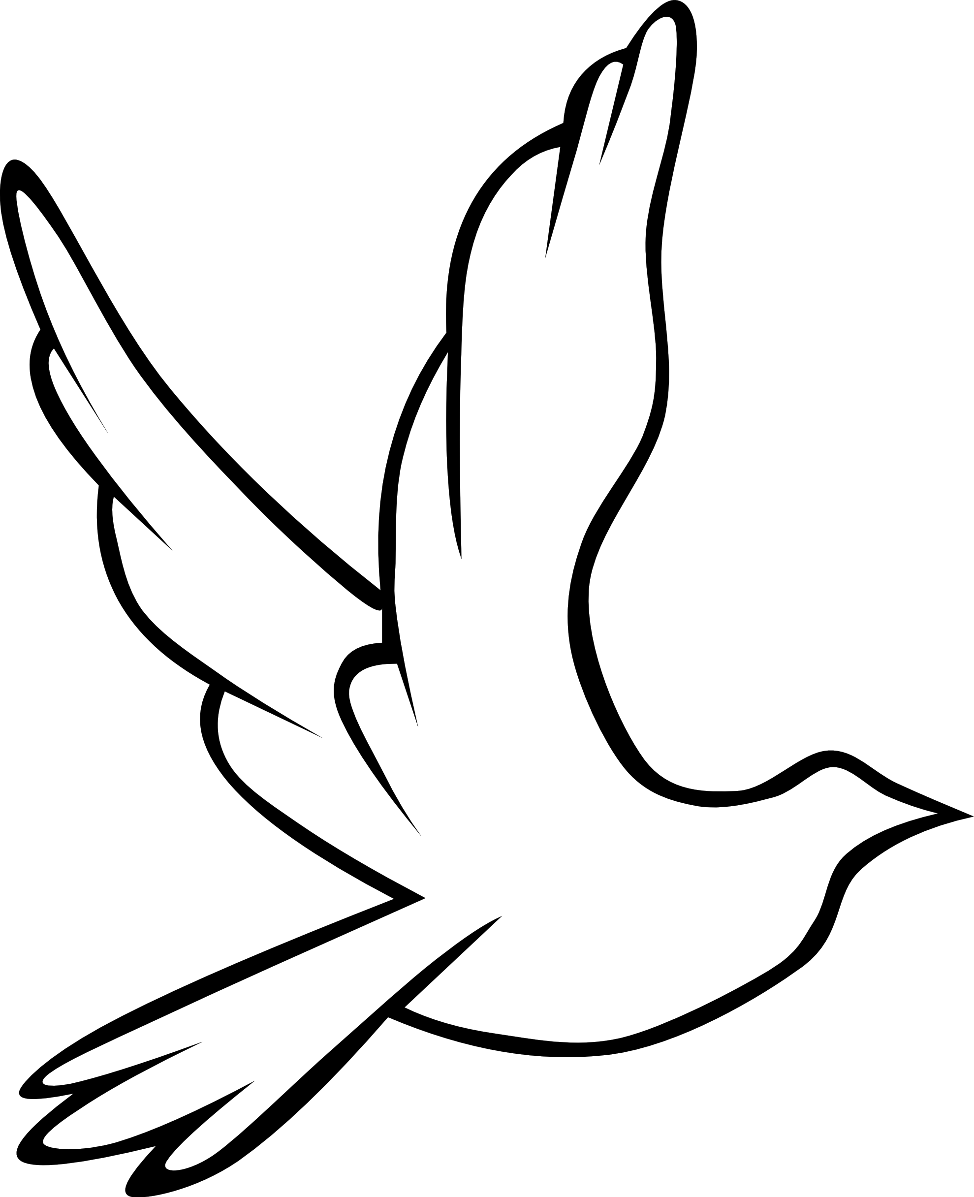 Social drawing bird. Clip art peace dove