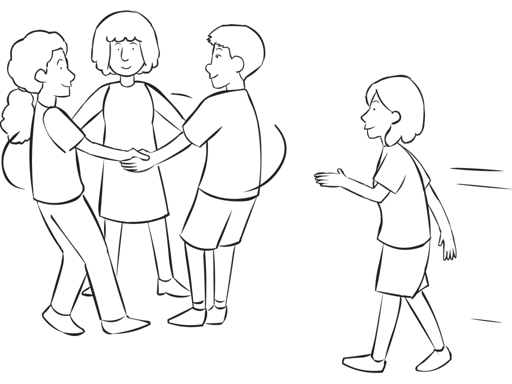 Social drawing group person. Triangle tag challenging highly