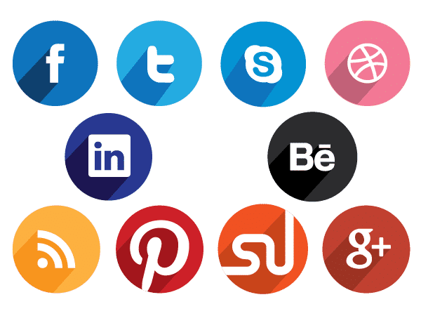 Social icons png. Flat round media design