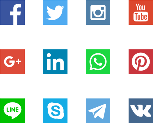 Social media icon png download. Flat icons image royalty