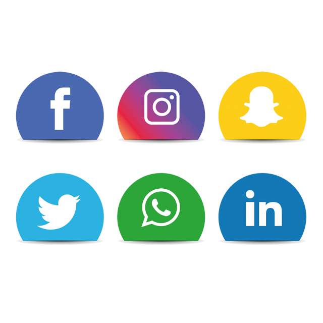 Facebook and instagram logo png. Social media icons set