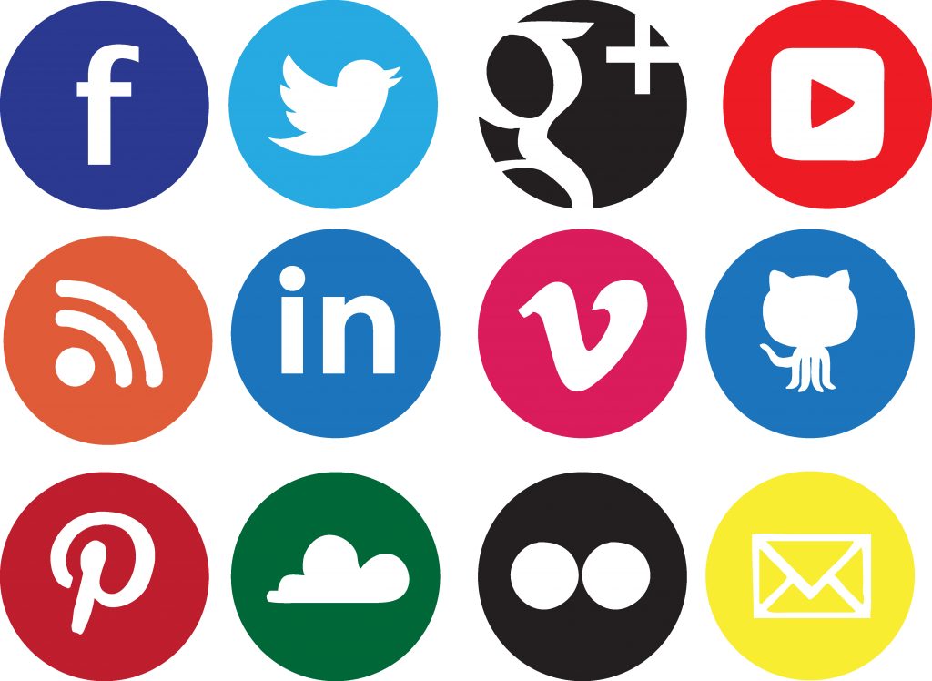 Social media icons transparent background png. Sociocons networks sharing under