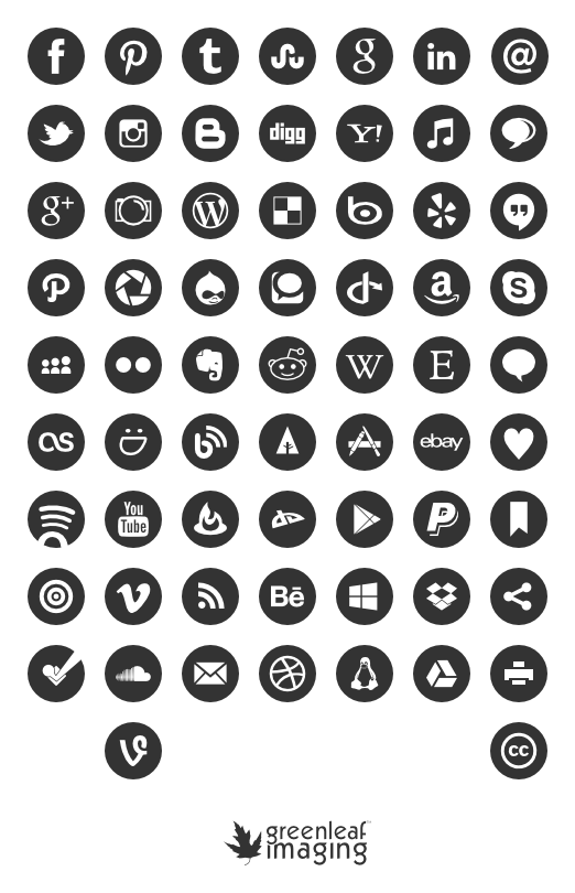 social media icons black and white png