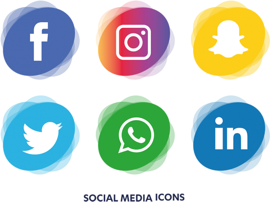 Social media logos png no background. Download icons set icon