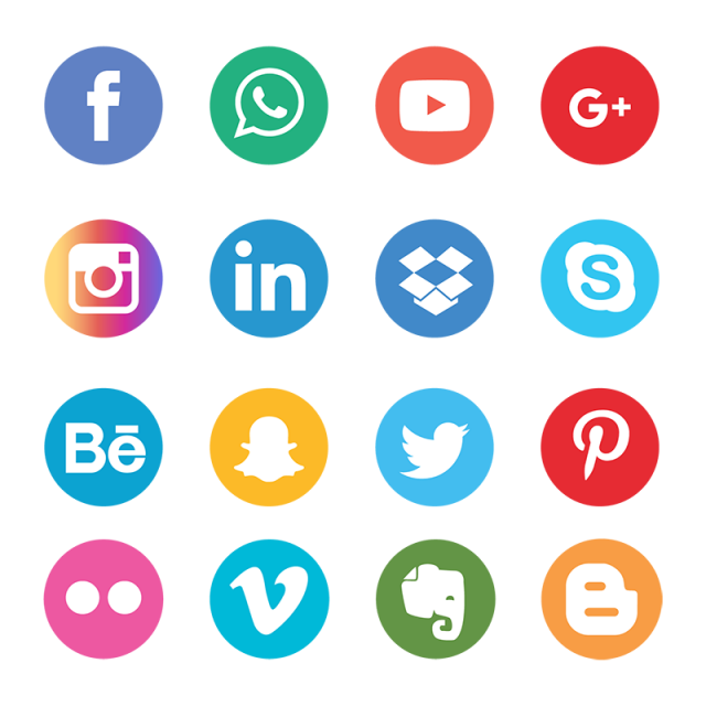 Social icons set network. Media vector image download