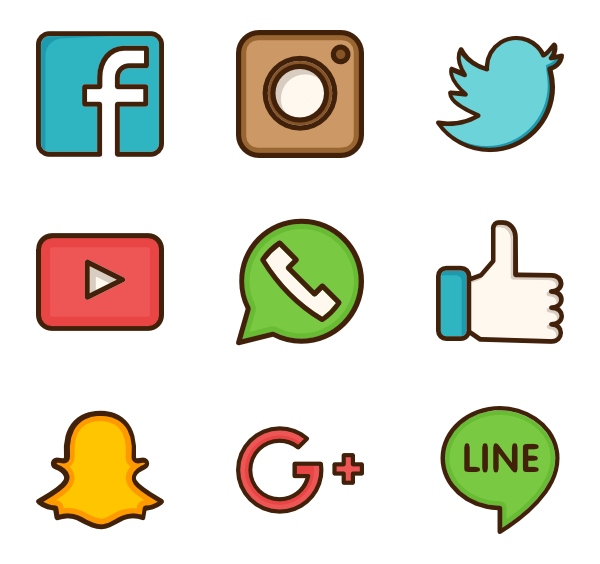 Social networks logos png. Brand icon packs