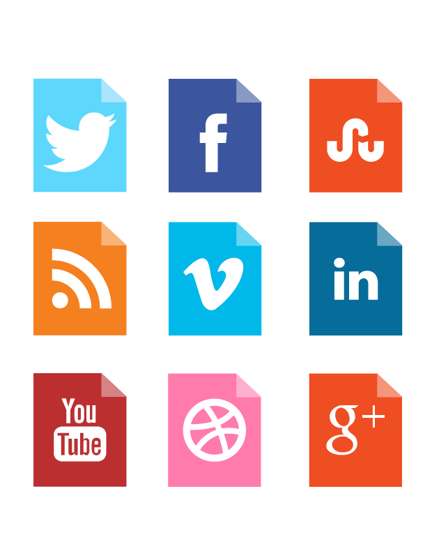 Social networks icons png. A large corner folded