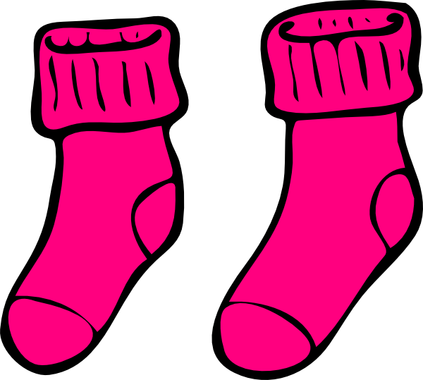 Pink clip art at. Sock clipart black and white download