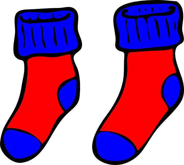 Sock clipart draw. Blue and red socks