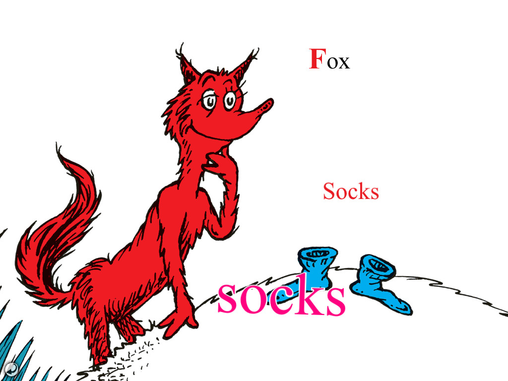 Sock clipart fox in socks. Dr seuss coloring pages