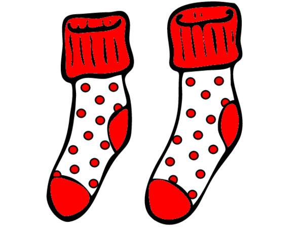 Sock clipart red. And white spotty socks