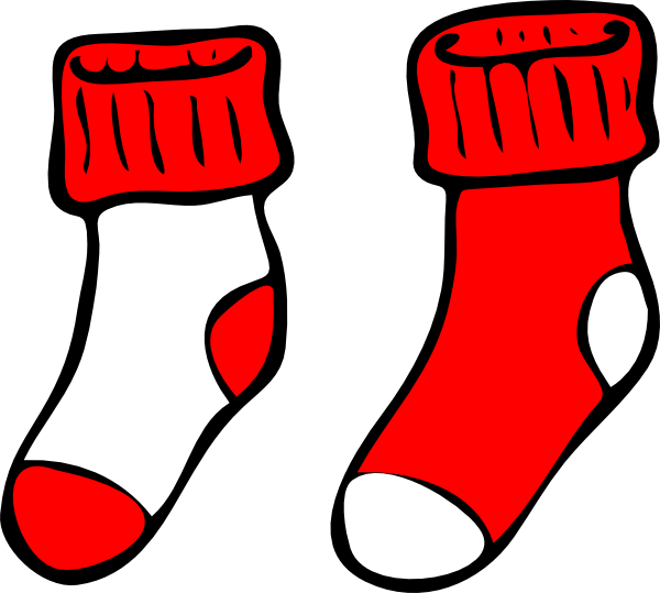 Sock clipart red. And white socks clip