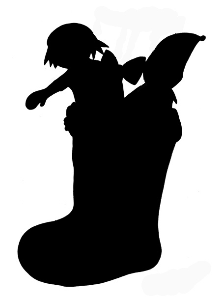 Socks clipart silhouette. Christmas silhouettes stocking
