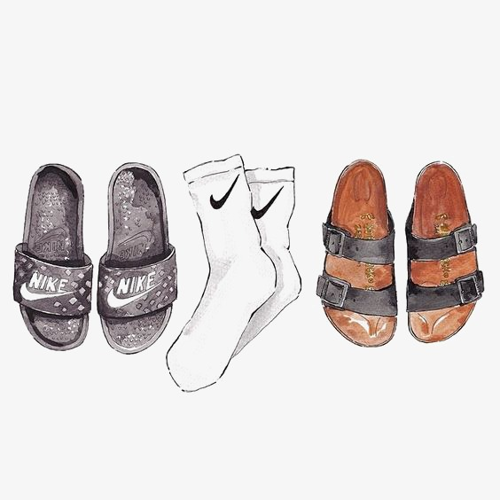 Creative with slippers sport. Socks clipart socks nike clipart