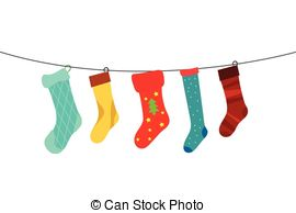 Christmas illustrations and clip. Socks clipart vector black and white