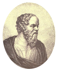 Socrates drawing. Old oval aliem
