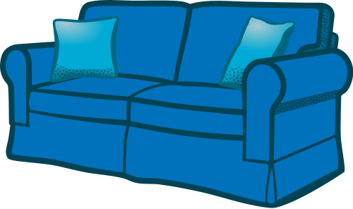 Couch clipart sofa. Blue household furniture png
