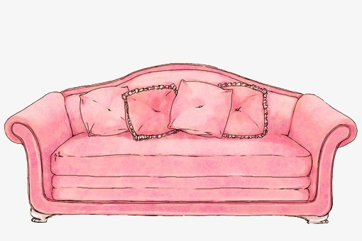 Couch clipart pink couch. Sofa illustration hand painted