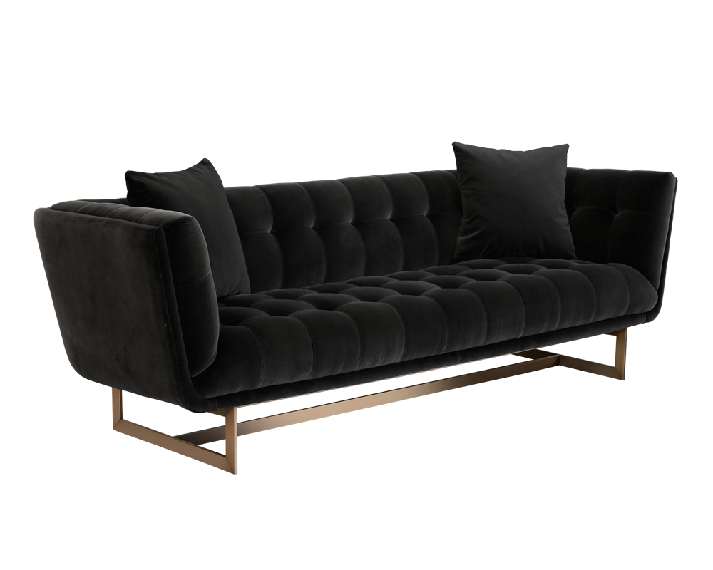 Transparent couch grey. Bryston sofa antique brass