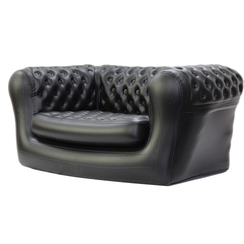 Transparent couch inflatable. Chesterfield sofa