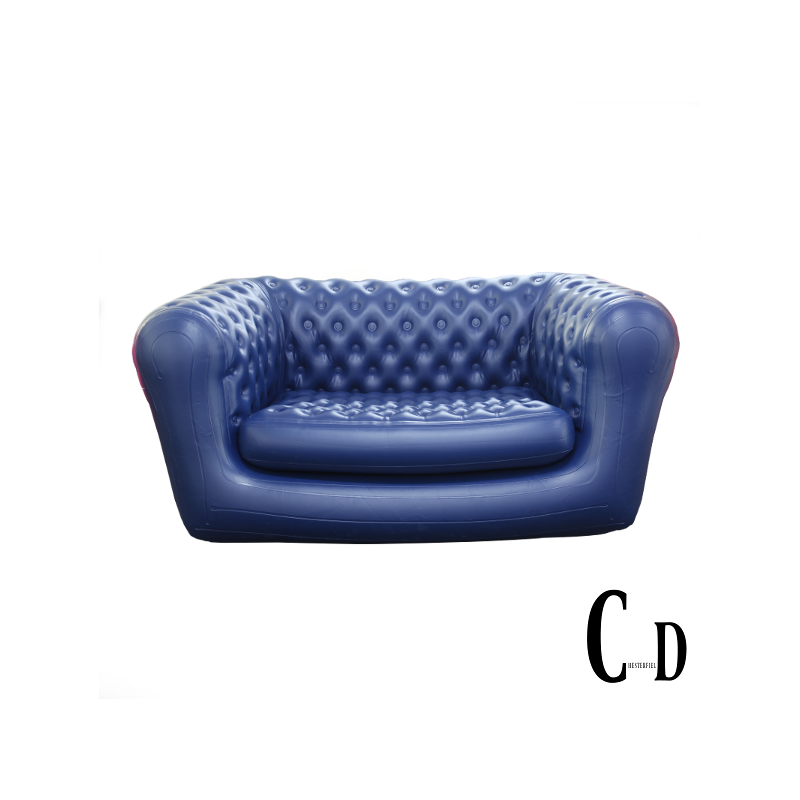 Sofa transparent inflatable. Chesterfield two seater blue