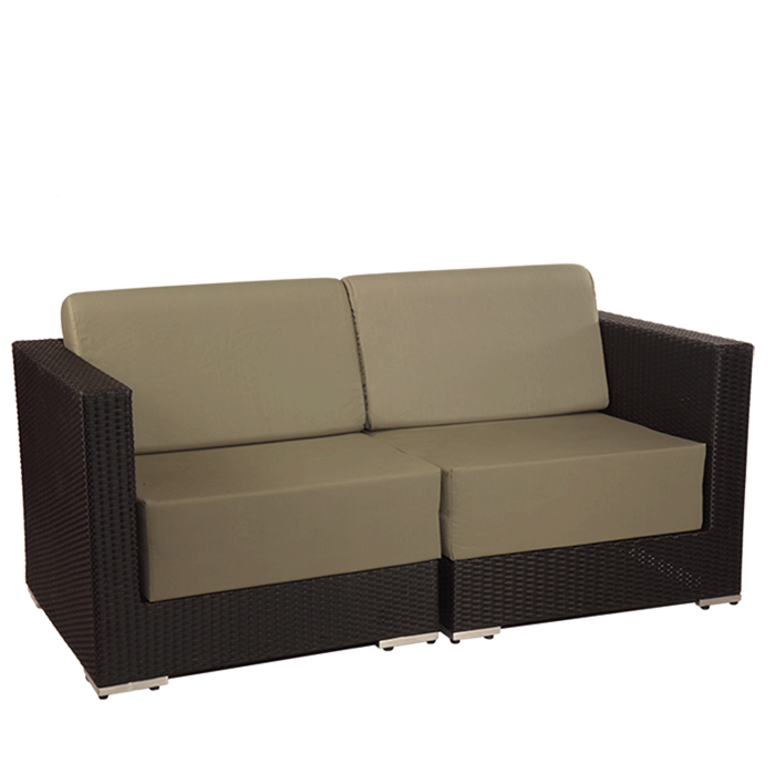 Sofa transparent lounge. Hire two seater taupe