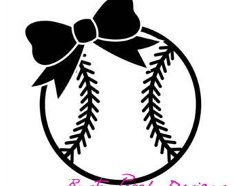 Softball clipart decal. Bow etsy more colors