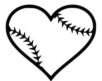 Softball clipart decal. Heart black and white