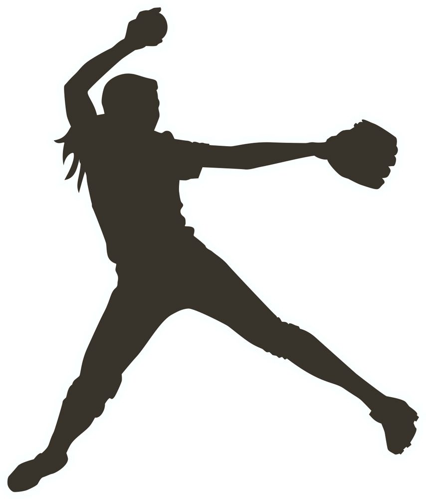 Softball clipart decal. Girl pitcher clipartfest silhouette