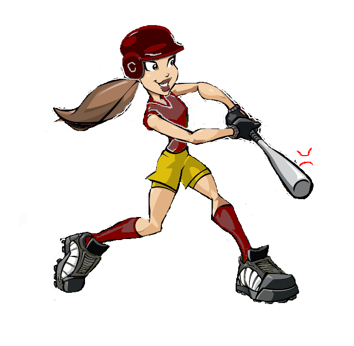 Softball player png. Cartoon batter mom pinterest