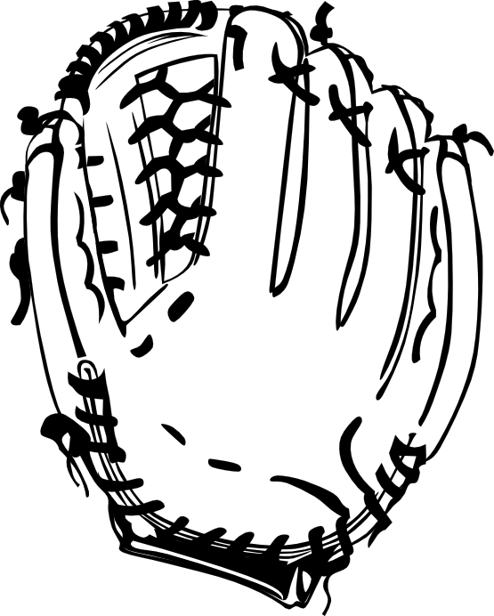 Dodgers svg coloring page. Baseball glove black white
