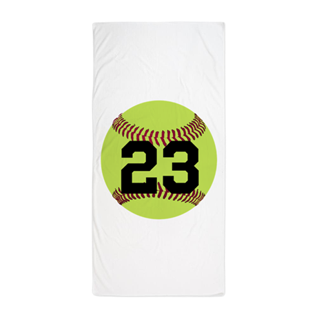 Softball numbers png. Number personalized beach towel