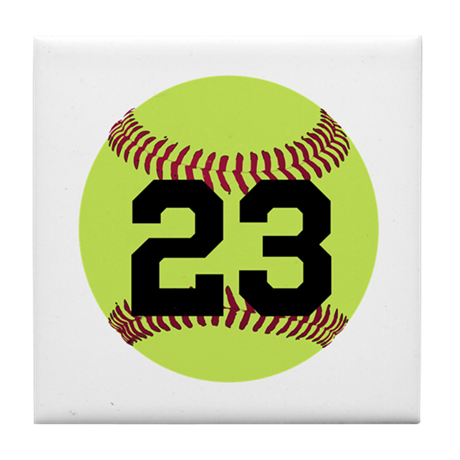 Softball numbers png. Number personalized tile coaster