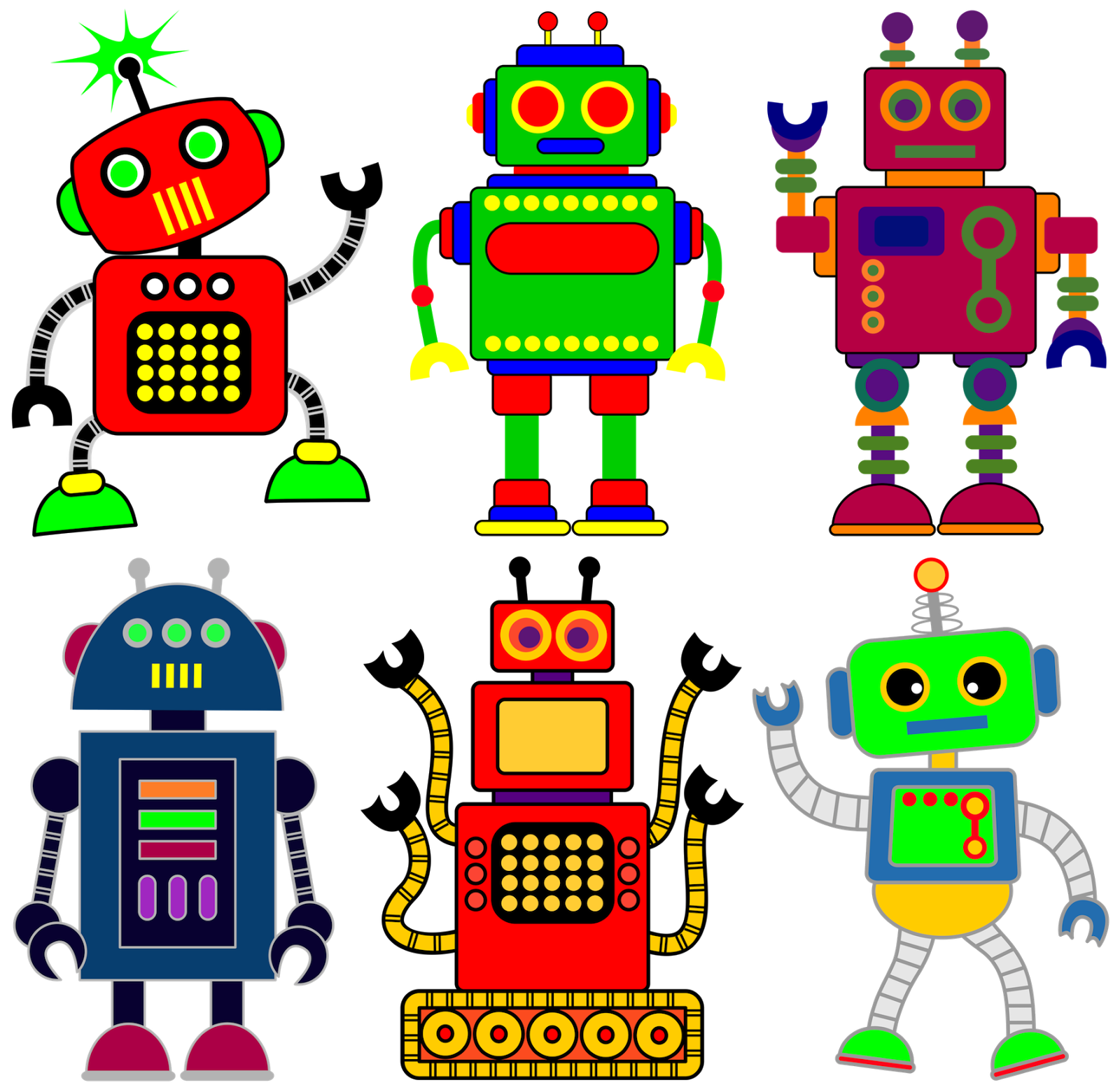 Vector robots cute. Robot clipart for your